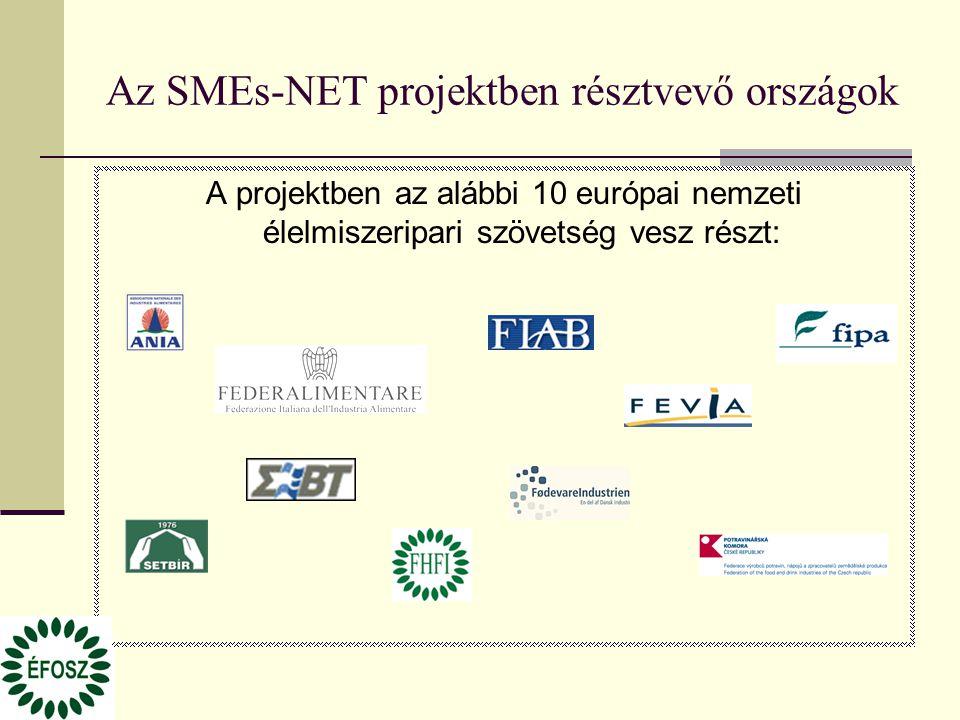 Az SMEs-NET projektben résztvevő országok A projektben az alábbi 10 európai nemzeti élelmiszeripari szövetség vesz részt:
