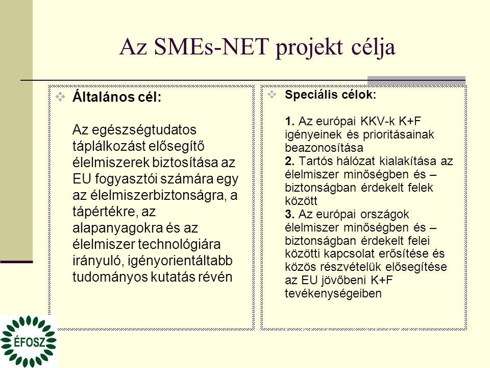Az SMEs-NET projekt célja  Általános cél: Az egészségtudatos táplálkozást elősegítő élelmiszerek biztosítása az EU fogyasztói számára egy az élelmiszerbiztonságra, a tápértékre, az alapanyagokra és az élelmiszer technológiára irányuló, igényorientáltabb tudományos kutatás révén  Speciális célok: 1.