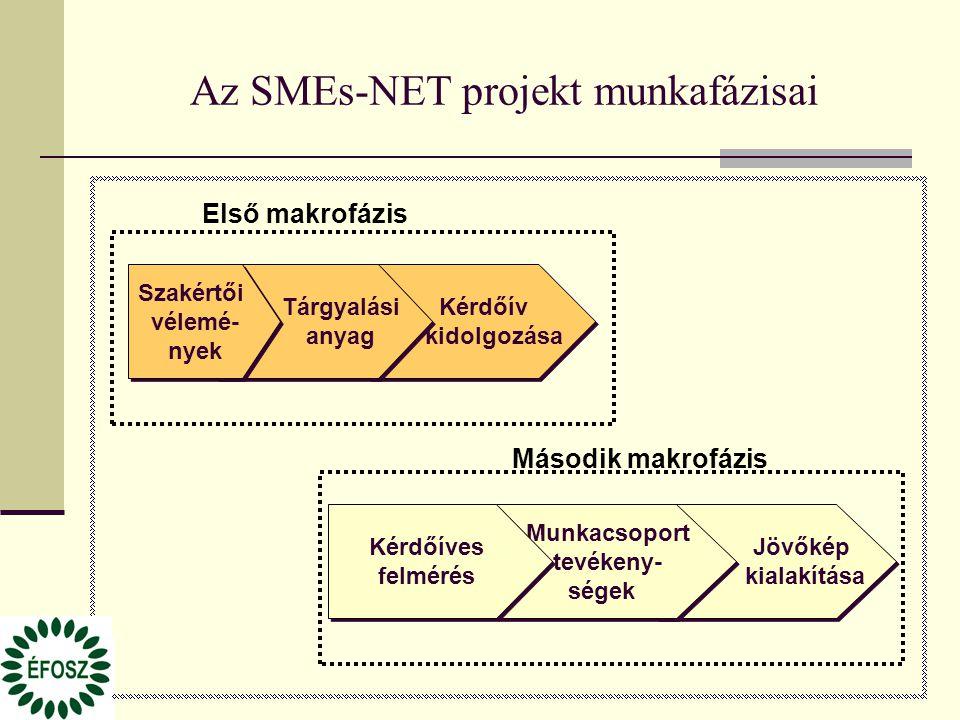 Az SMEs-NET projekt munkafázisai Kérdőív kidolgozása Első makrofázis Jövőkép kialakítása Tárgyalási anyag Szakértői vélemé- nyek Második makrofázis Munkacsoport tevékeny- ségek Kérdőíves felmérés