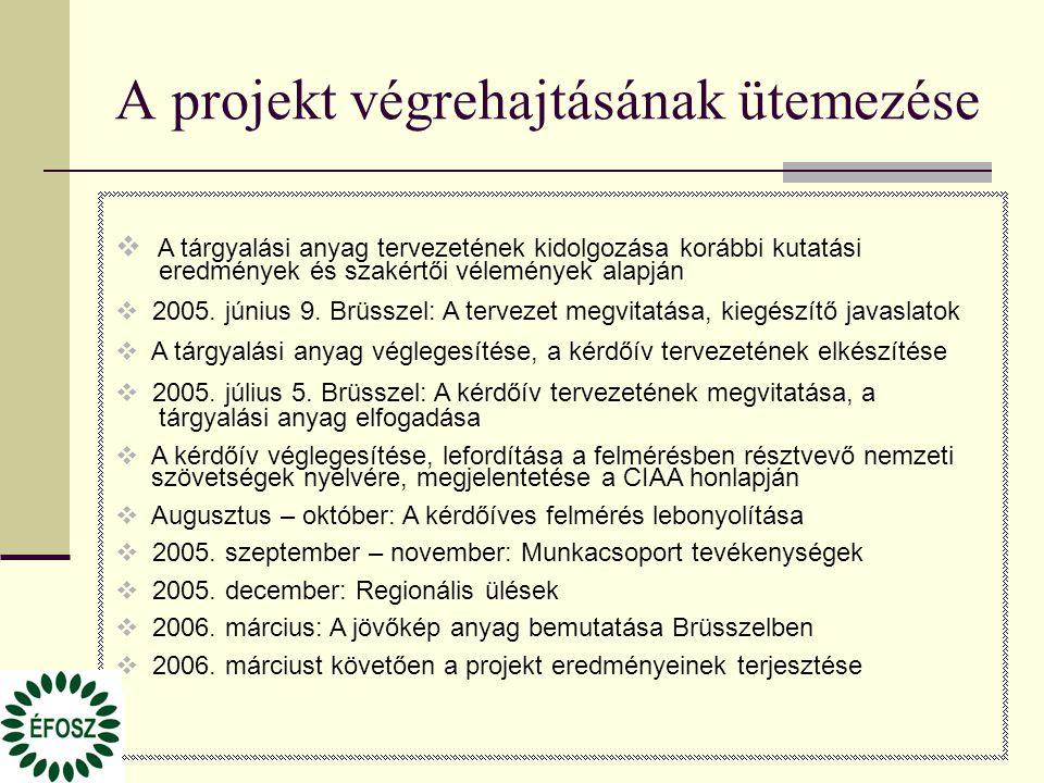 A projekt végrehajtásának ütemezése  A tárgyalási anyag tervezetének kidolgozása korábbi kutatási eredmények és szakértői vélemények alapján  2005.