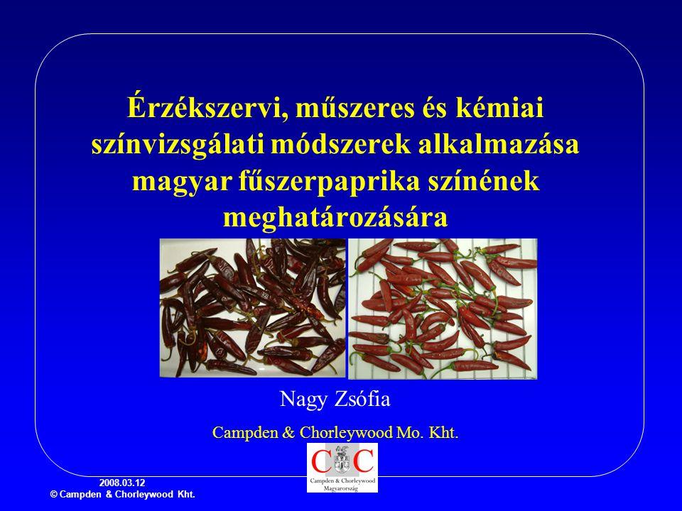 2008.03.12 © Campden & Chorleywood Kht. Érzékszervi, műszeres és kémiai színvizsgálati módszerek alkalmazása magyar fűszerpaprika színének meghatározá