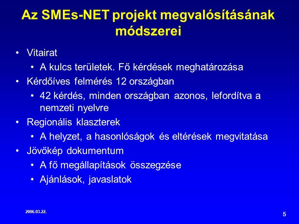 2006.03.22. 5 Az SMEs-NET projekt megvalósításának módszerei Vitairat A kulcs területek.