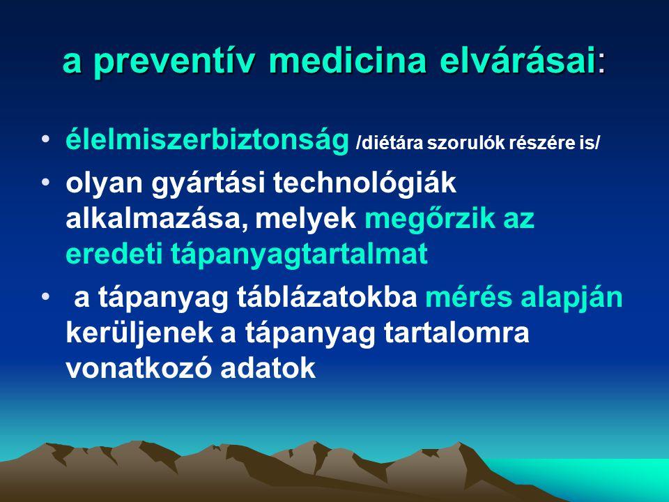 a preventív medicina elvárásai: élelmiszerbiztonság /diétára szorulók részére is/ olyan gyártási technológiák alkalmazása, melyek megőrzik az eredeti