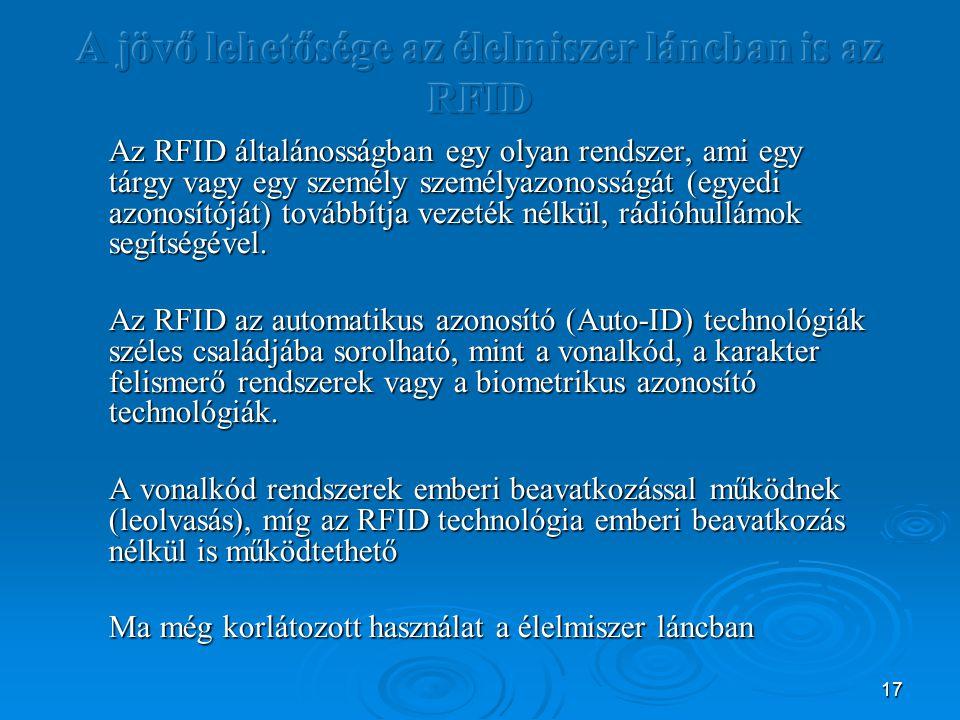 17 Az RFID általánosságban egy olyan rendszer, ami egy tárgy vagy egy személy személyazonosságát (egyedi azonosítóját) továbbítja vezeték nélkül, rádióhullámok segítségével.