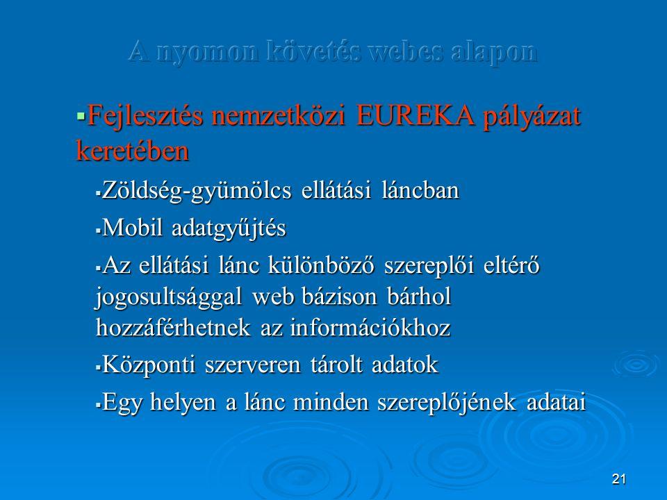 21  Fejlesztés nemzetközi EUREKA pályázat keretében  Zöldség-gyümölcs ellátási láncban  Mobil adatgyűjtés  Az ellátási lánc különböző szereplői el