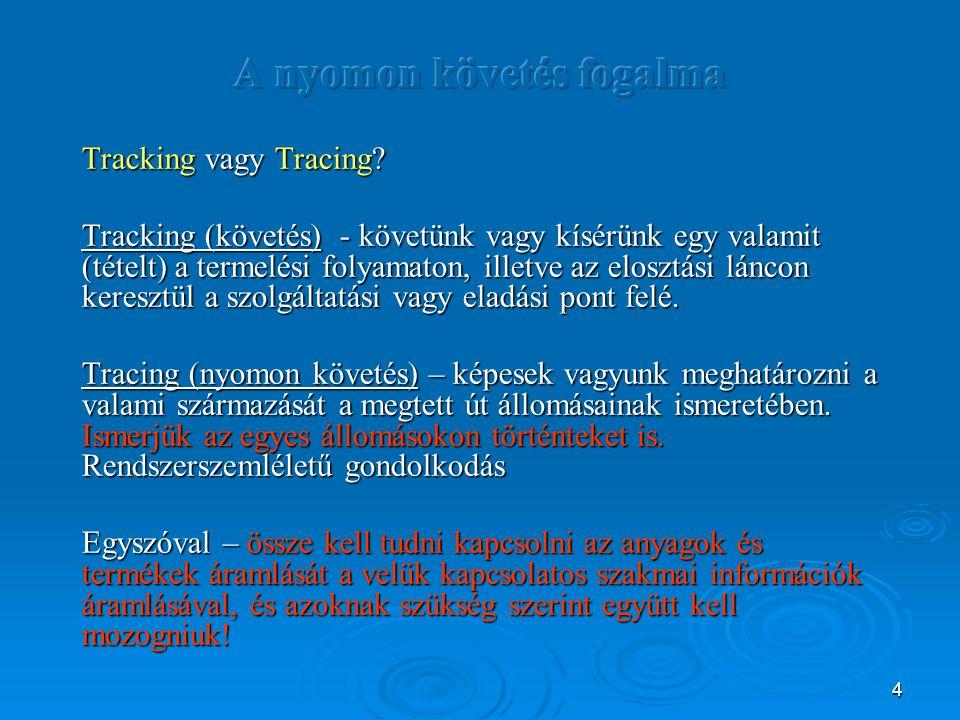 4 Tracking vagy Tracing? Tracking (követés) - követünk vagy kísérünk egy valamit (tételt) a termelési folyamaton, illetve az elosztási láncon keresztü