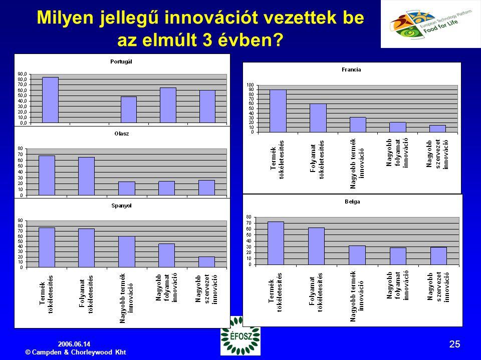 2006.06.14 © Campden & Chorleywood Kht 25 Milyen jellegű innovációt vezettek be az elmúlt 3 évben