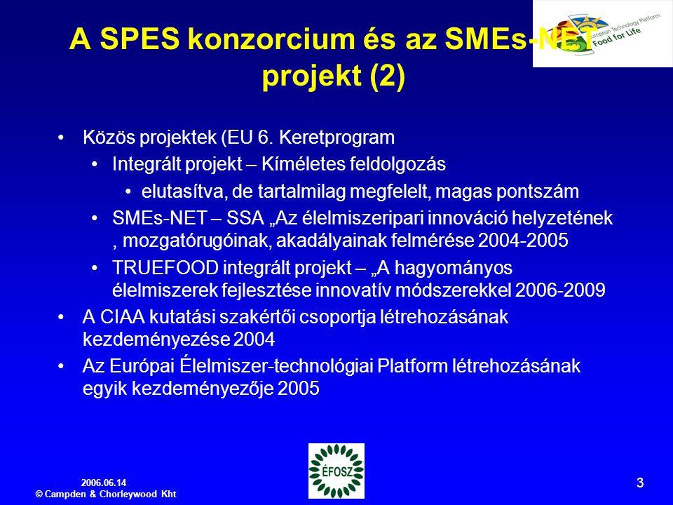 2006.06.14 © Campden & Chorleywood Kht 3 A SPES konzorcium és az SMEs-NET projekt (2) Közös projektek (EU 6.