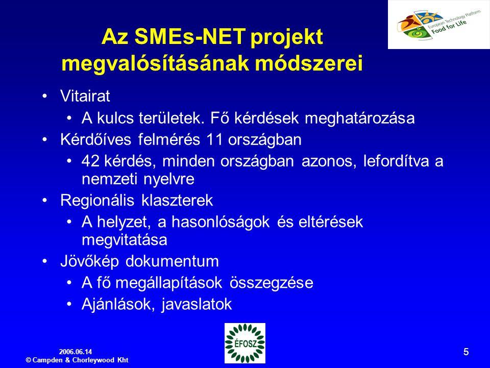 2006.06.14 © Campden & Chorleywood Kht 5 Az SMEs-NET projekt megvalósításának módszerei Vitairat A kulcs területek.