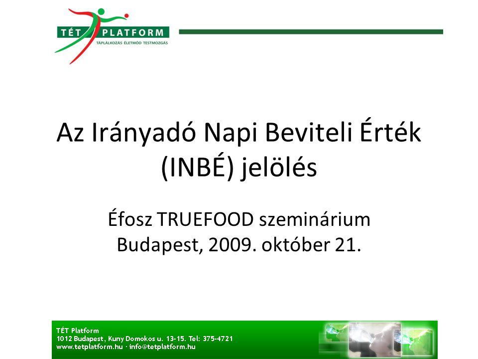Az Irányadó Napi Beviteli Érték (INBÉ) jelölés Éfosz TRUEFOOD szeminárium Budapest, 2009.