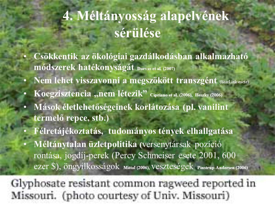 4. Méltányosság alapelvének sérülése Csökkentik az ökológiai gazdálkodásban alkalmazható módszerek hatékonyságát Darvas et al. (2007) Nem lehet vissza