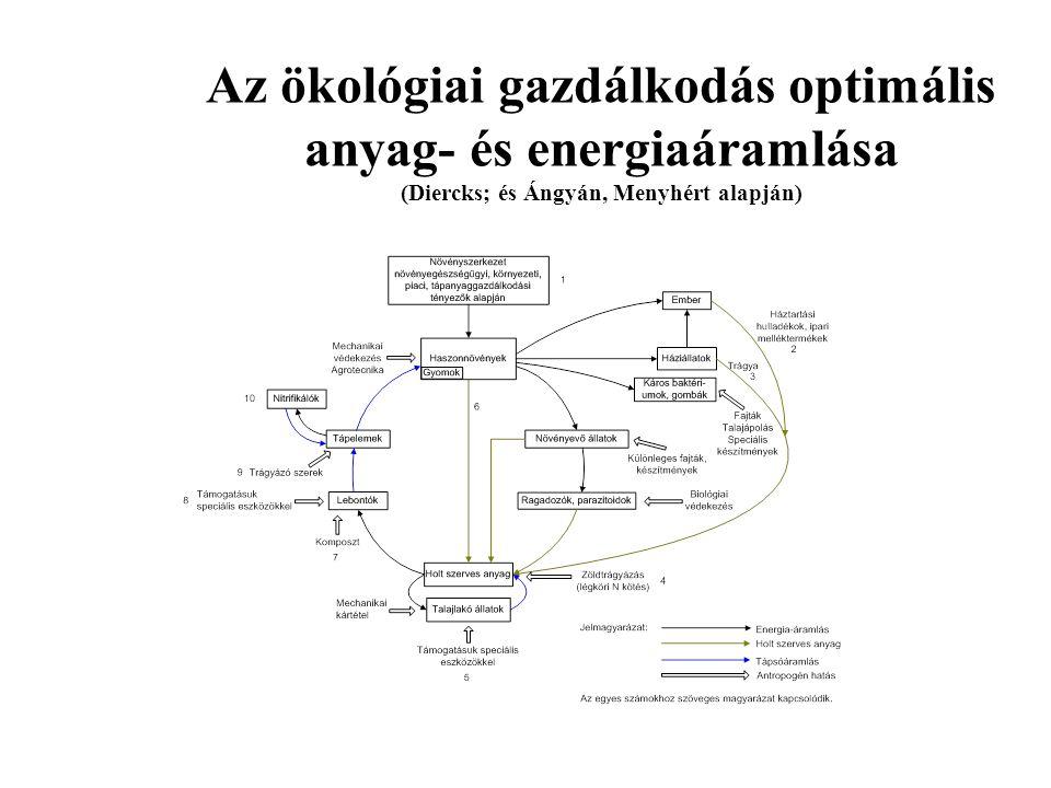 Az ökológiai gazdálkodás optimális anyag- és energiaáramlása (Diercks; és Ángyán, Menyhért alapján)