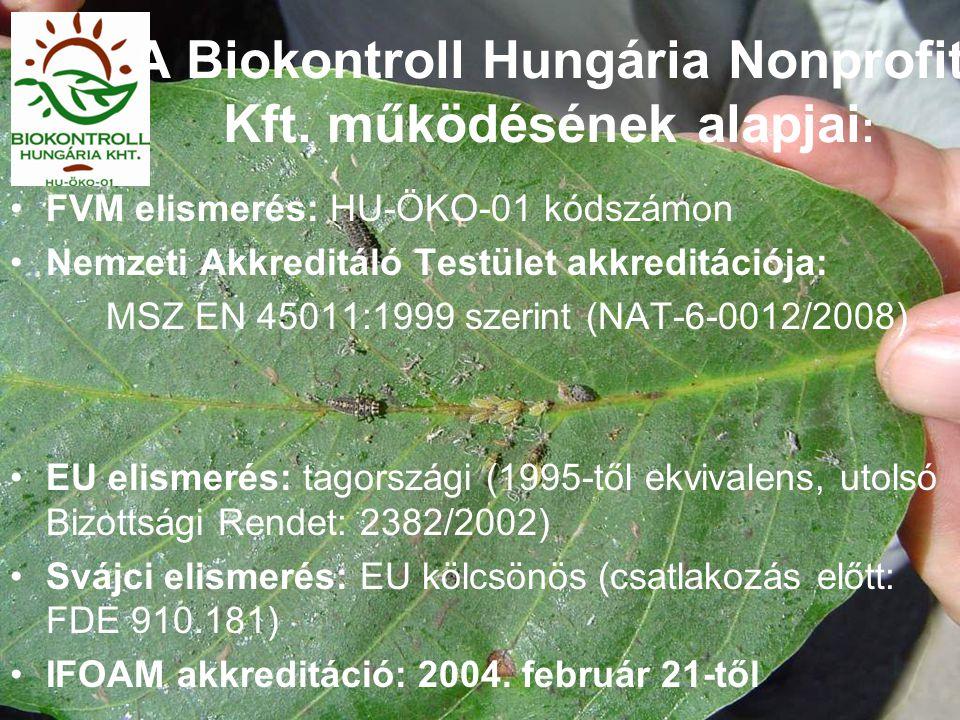 A Biokontroll Hungária Nonprofit Kft. működésének alapjai : FVM elismerés: HU-ÖKO-01 kódszámon Nemzeti Akkreditáló Testület akkreditációja: MSZ EN 450