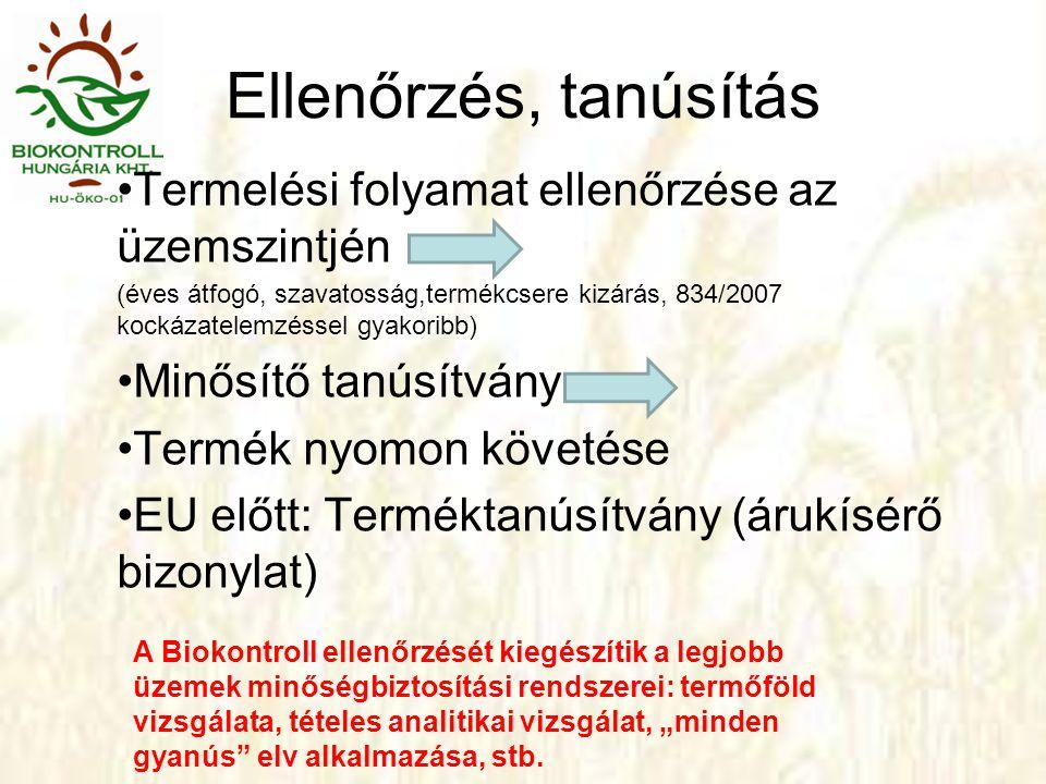 """Ellenőrzés, tanúsítás Termelési folyamat ellenőrzése az üzemszintjén (éves átfogó, szavatosság,termékcsere kizárás, 834/2007 kockázatelemzéssel gyakoribb) Minősítő tanúsítvány Termék nyomon követése EU előtt: Terméktanúsítvány (árukísérő bizonylat) A Biokontroll ellenőrzését kiegészítik a legjobb üzemek minőségbiztosítási rendszerei: termőföld vizsgálata, tételes analitikai vizsgálat, """"minden gyanús elv alkalmazása, stb."""