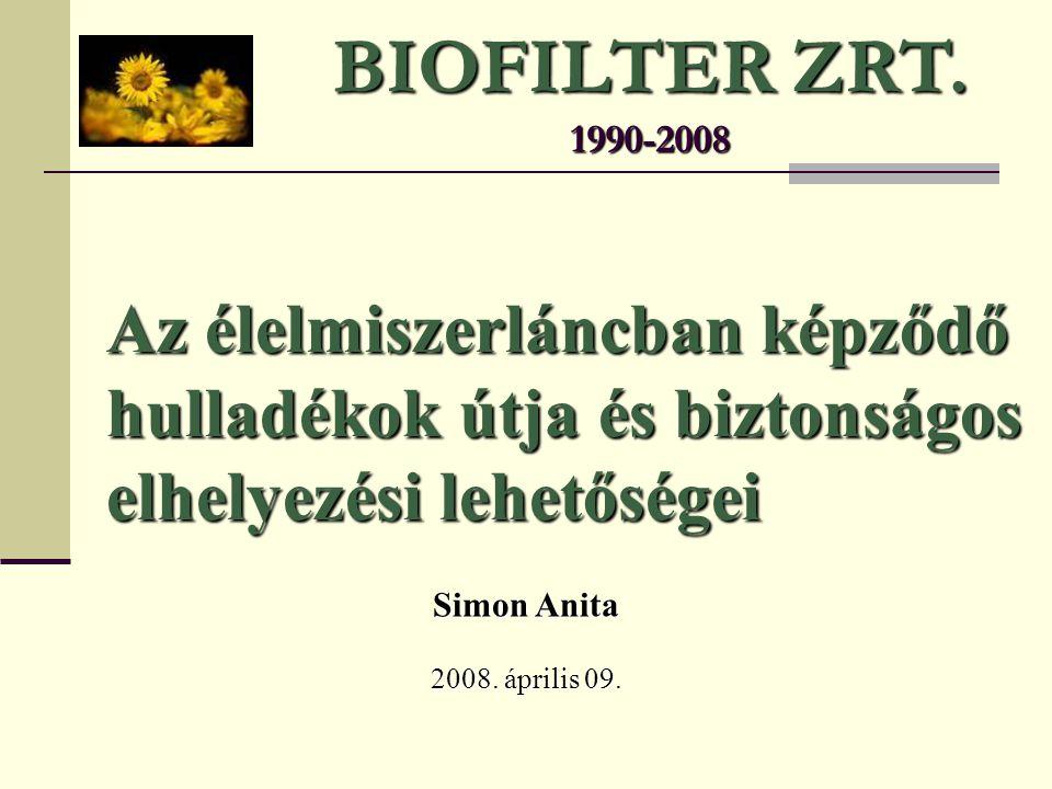 BIOFILTER ZRT. 1990-2008 Simon Anita 2008. április 09. Az élelmiszerláncban képződő hulladékok útja és biztonságos elhelyezési lehetőségei