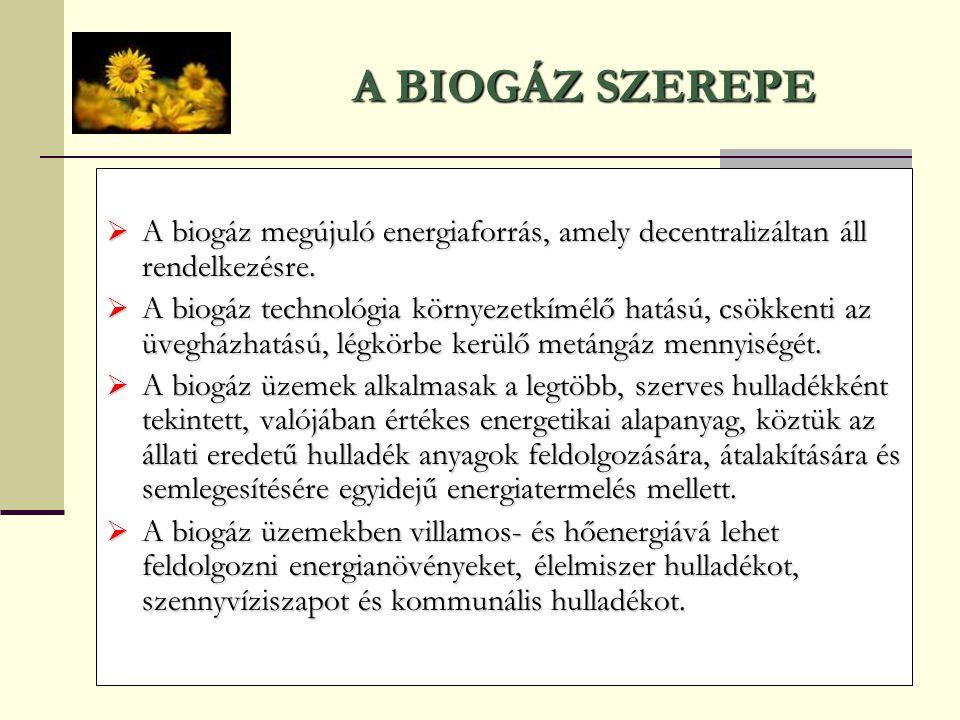 A BIOGÁZ SZEREPE  A biogáz megújuló energiaforrás, amely decentralizáltan áll rendelkezésre.  A biogáz technológia környezetkímélő hatású, csökkenti