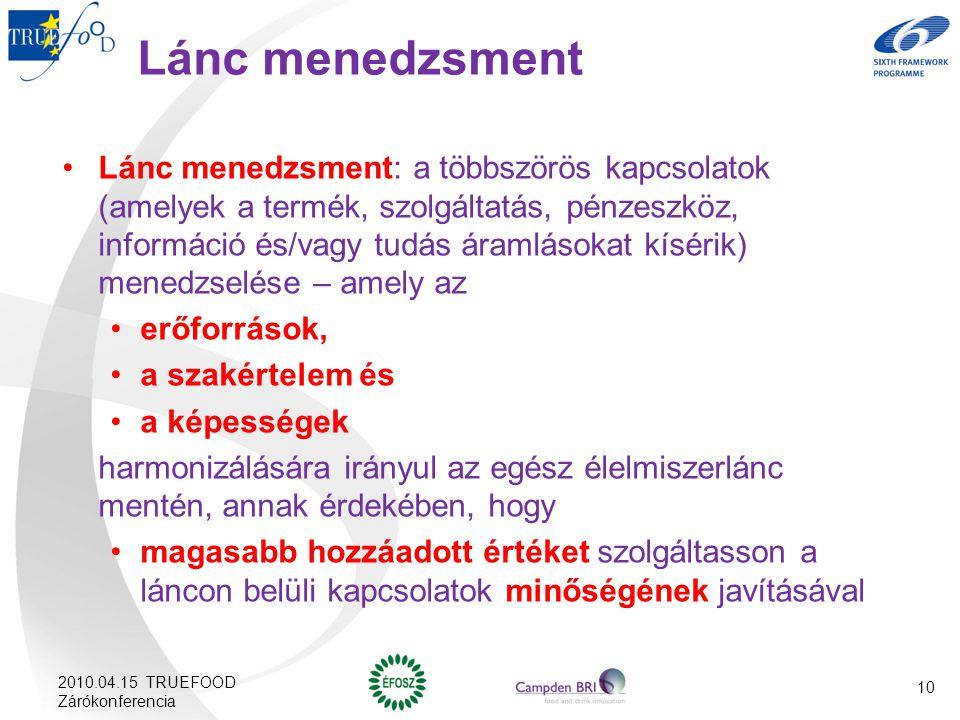 10 Lánc menedzsment Lánc menedzsment: a többszörös kapcsolatok (amelyek a termék, szolgáltatás, pénzeszköz, információ és/vagy tudás áramlásokat kísér