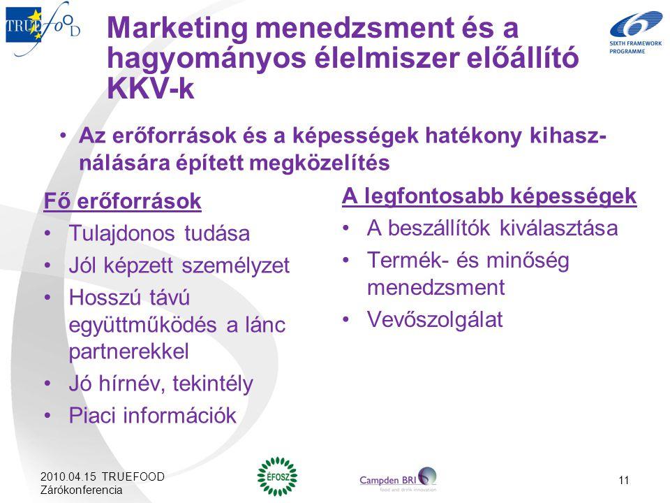 Marketing menedzsment és a hagyományos élelmiszer előállító KKV-k Az erőforrások és a képességek hatékony kihasz- nálására épített megközelítés Fő erő