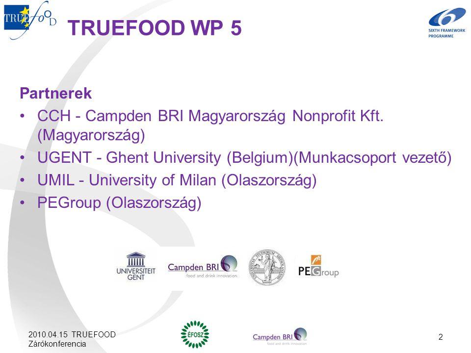 TRUEFOOD WP 5 Partnerek CCH - Campden BRI Magyarország Nonprofit Kft. (Magyarország) UGENT - Ghent University (Belgium)(Munkacsoport vezető) UMIL - Un