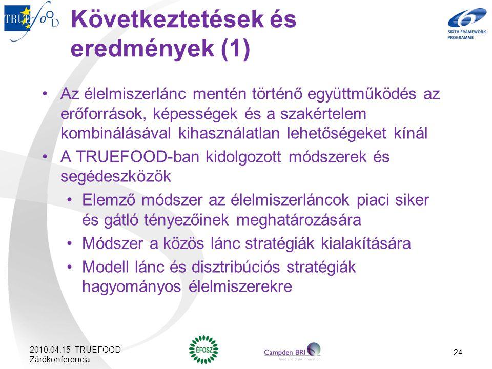 24 Következtetések és eredmények (1) Az élelmiszerlánc mentén történő együttműködés az erőforrások, képességek és a szakértelem kombinálásával kihaszn