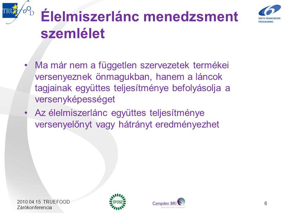 6 Élelmiszerlánc menedzsment szemlélet Ma már nem a független szervezetek termékei versenyeznek önmagukban, hanem a láncok tagjainak együttes teljesít