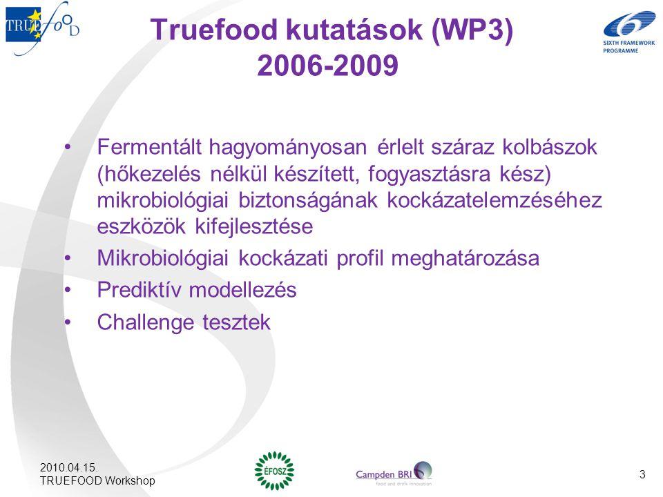 Truefood kutatások (WP3) 2006-2009 Fermentált hagyományosan érlelt száraz kolbászok (hőkezelés nélkül készített, fogyasztásra kész) mikrobiológiai biz