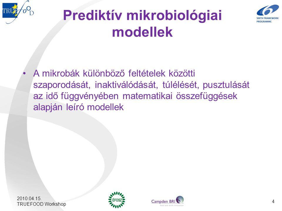 Prediktív mikrobiológiai modellek A mikrobák különböző feltételek közötti szaporodását, inaktiválódását, túlélését, pusztulását az idő függvényében ma