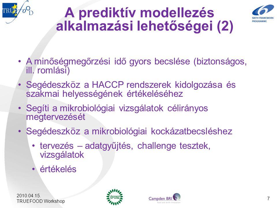A prediktív modellezés alkalmazási lehetőségei (2) A minőségmegőrzési idő gyors becslése (biztonságos, ill. romlási) Segédeszköz a HACCP rendszerek ki