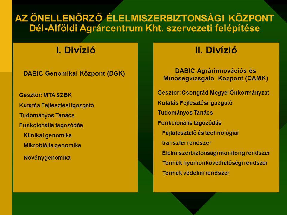 I. DivízióII. Divízió DABIC Genomikai Központ (DGK) Gesztor: MTA SZBK Kutatás Fejlesztési Igazgató Tudományos Tanács Funkcionális tagozódás Klinikai g