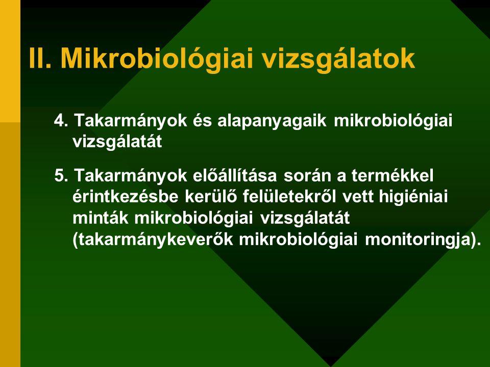 II. Mikrobiológiai vizsgálatok 4. Takarmányok és alapanyagaik mikrobiológiai vizsgálatát 5. Takarmányok előállítása során a termékkel érintkezésbe ker