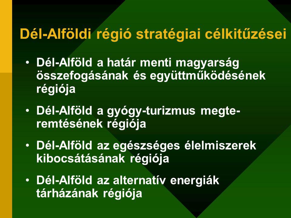 Dél-Alföldi régió stratégiai célkitűzései Dél-Alföld a határ menti magyarság összefogásának és együttműködésének régiója Dél-Alföld a gyógy-turizmus m