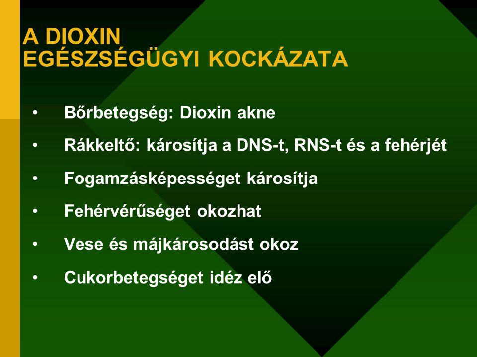 A DIOXIN EGÉSZSÉGÜGYI KOCKÁZATA Bőrbetegség: Dioxin akne Rákkeltő: károsítja a DNS-t, RNS-t és a fehérjét Fogamzásképességet károsítja Fehérvérűséget