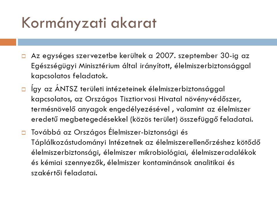 Kormányzati akarat  Az egységes szervezetbe kerültek a 2007. szeptember 30-ig az Egészségügyi Minisztérium által irányított, élelmiszerbiztonsággal k