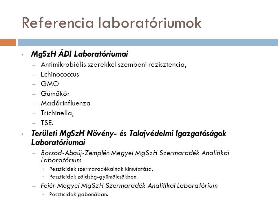 Referencia laboratóriumok MgSzH ÁDI Laboratóriumai – Antimikrobiális szerekkel szembeni rezisztencia, – Echinococcus – GMO – Gümőkór – Madárinfluenza