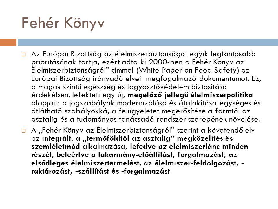Fehér Könyv  Az Európai Bizottság az élelmiszerbiztonságot egyik legfontosabb prioritásának tartja, ezért adta ki 2000-ben a Fehér Könyv az Élelmisze