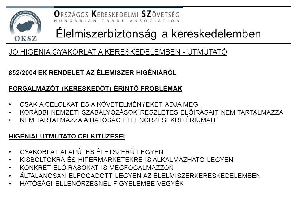 Élelmiszerbiztonság a kereskedelemben JÓ HIGÉNIA GYAKORLAT A KERESKEDELEMBEN - ÚTMUTATÓ 852/2004 EK RENDELET AZ ÉLEMISZER HIGÉNIÁRÓL FORGALMAZÓT (KERE