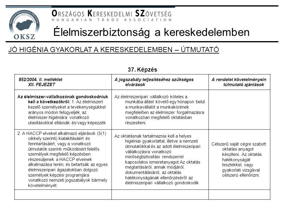 Élelmiszerbiztonság a kereskedelemben JÓ HIGÉNIA GYAKORLAT A KERESKEDELEMBEN – ÚTMUTATÓ 37. Képzés 852/2004. II. melléklet XII. FEJEZET A jogszabály t