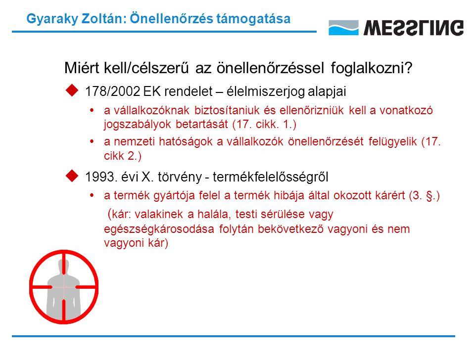 Gyaraky Zoltán: Önellenőrzés támogatása Miért kell/célszerű az önellenőrzéssel foglalkozni.