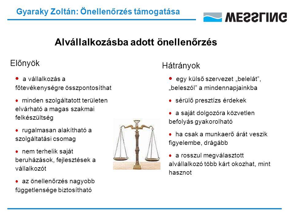Gyaraky Zoltán: Önellenőrzés támogatása Hogyan válasszuk ki a megfelelő szolgáltatót.