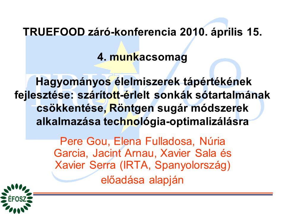TRUEFOOD záró-konferencia 2010. április 15. 4. munkacsomag Hagyományos élelmiszerek tápértékének fejlesztése: szárított-érlelt sonkák sótartalmának cs