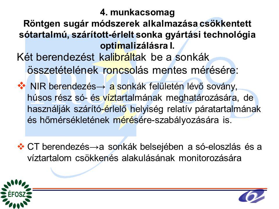 4. munkacsomag Röntgen sugár módszerek alkalmazása csökkentett sótartalmú, szárított-érlelt sonka gyártási technológia optimalizálásra I. Két berendez