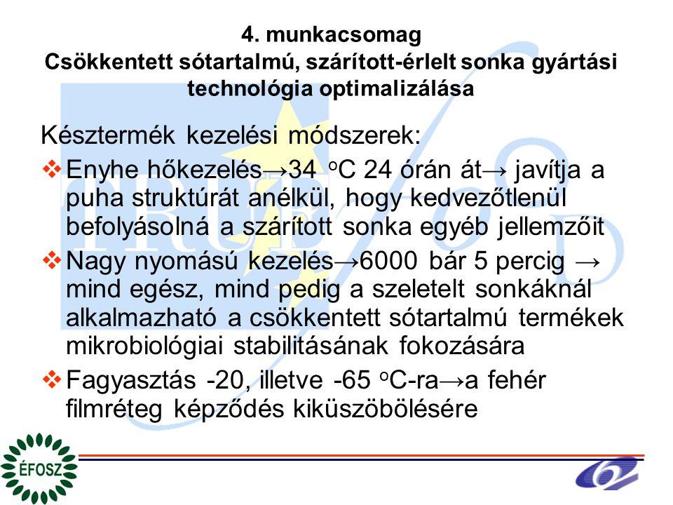 4. munkacsomag Csökkentett sótartalmú, szárított-érlelt sonka gyártási technológia optimalizálása Késztermék kezelési módszerek:  Enyhe hőkezelés→34