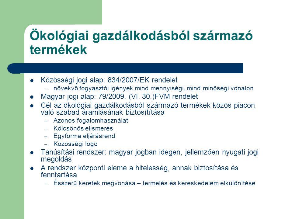 Ökológiai gazdálkodásból származó termékek Közösségi jogi alap: 834/2007/EK rendelet – növekvő fogyasztói igények mind mennyiségi, mind minőségi vonal