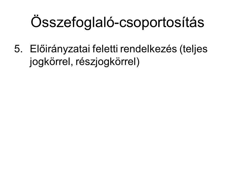 Összefoglaló-csoportosítás 5.Előirányzatai feletti rendelkezés (teljes jogkörrel, részjogkörrel)