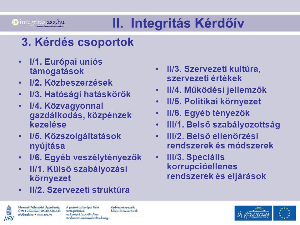 3. Kérdés csoportok I/1. Európai uniós támogatások I/2. Közbeszerzések I/3. Hatósági hatáskörök I/4. Közvagyonnal gazdálkodás, közpénzek kezelése I/5.