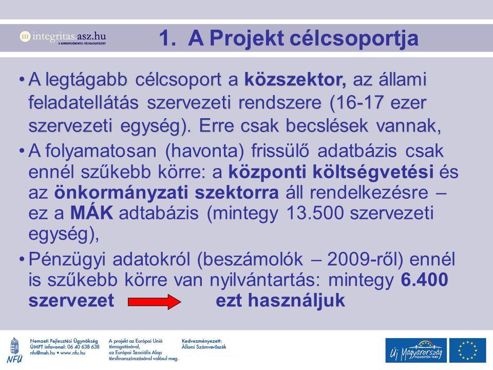 1. A Projekt célcsoportja A legtágabb célcsoport a közszektor, az állami feladatellátás szervezeti rendszere (16-17 ezer szervezeti egység). Erre csak