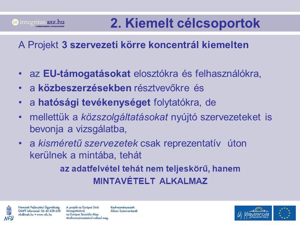 A Projekt 3 szervezeti körre koncentrál kiemelten az EU-támogatásokat elosztókra és felhasználókra, a közbeszerzésekben résztvevőkre és a hatósági tevékenységet folytatókra, de mellettük a közszolgáltatásokat nyújtó szervezeteket is bevonja a vizsgálatba, a kisméretű szervezetek csak reprezentatív úton kerülnek a mintába, tehát az adatfelvétel tehát nem teljeskörű, hanem MINTAVÉTELT ALKALMAZ 2.