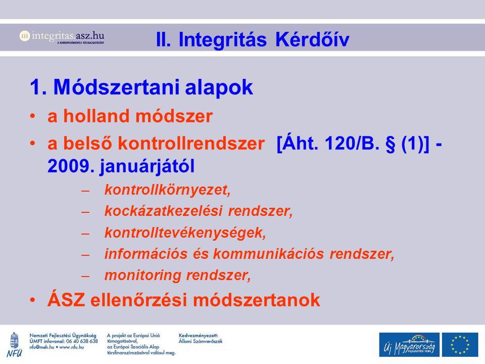 II. Integritás Kérdőív 1. Módszertani alapok a holland módszer a belső kontrollrendszer [Áht. 120/B. § (1)] - 2009. januárjától –kontrollkörnyezet, –k