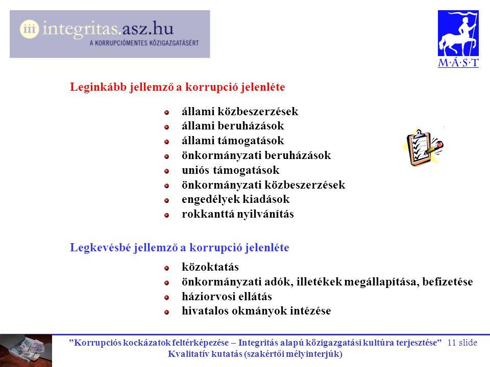 """""""Korrupciós kockázatok feltérképezése – Integritás alapú közigazgatási kultúra terjesztése"""" Kvalitatív kutatás (szakértői mélyinterjúk) 11 slide állam"""