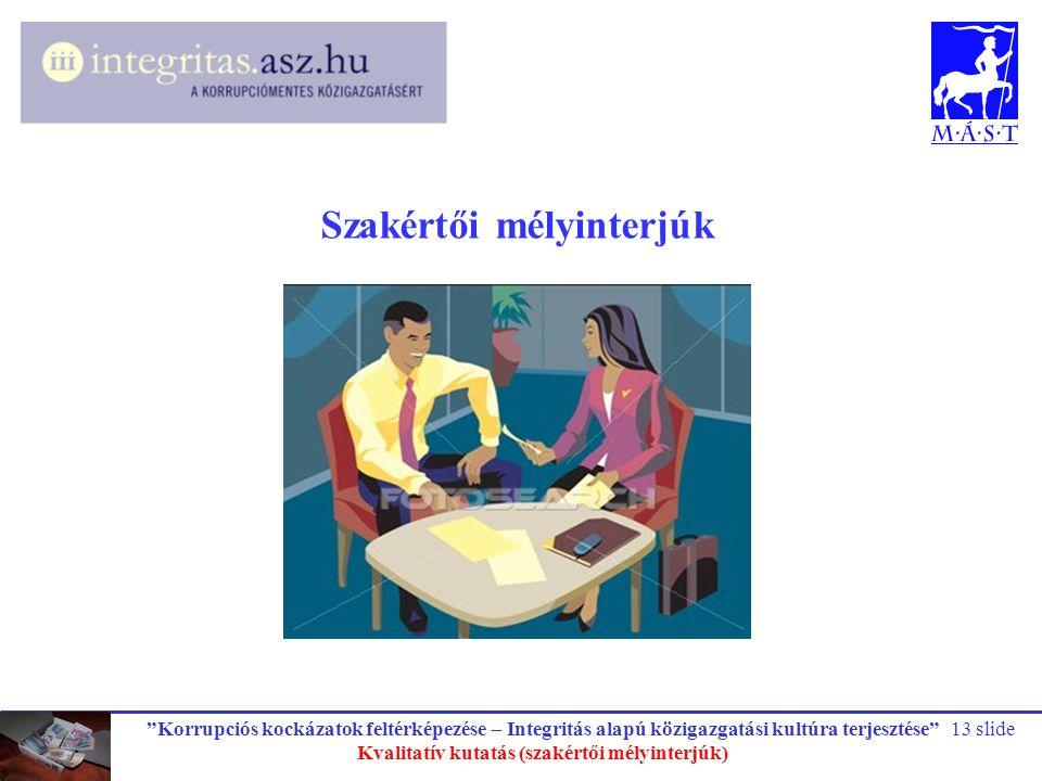 """""""Korrupciós kockázatok feltérképezése – Integritás alapú közigazgatási kultúra terjesztése"""" Kvalitatív kutatás (szakértői mélyinterjúk) 13 slide Szaké"""